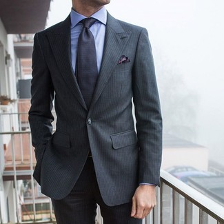 How to wear: charcoal vertical striped suit, light blue dress shirt, charcoal print tie, charcoal paisley pocket square