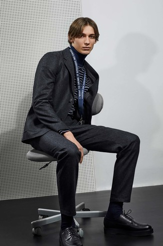 How to wear: charcoal wool suit, navy and white horizontal striped turtleneck, black leather derby shoes, black socks