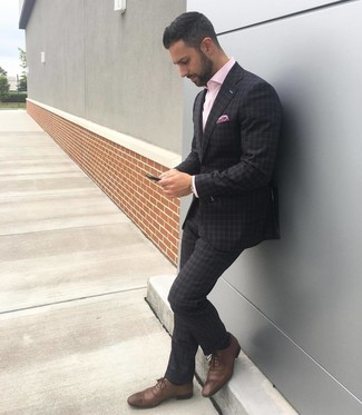 How to wear: charcoal plaid suit, pink long sleeve shirt, brown leather brogues, pink print pocket square