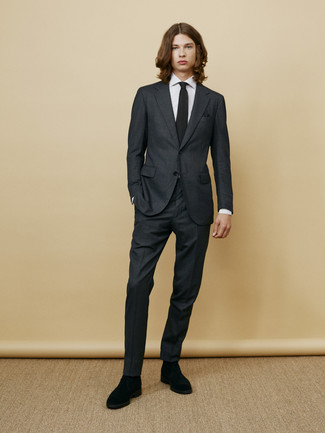 How to wear: charcoal suit, white vertical striped dress shirt, black suede chelsea boots, black knit tie
