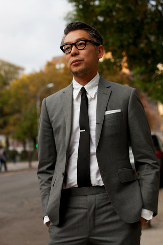 How to wear: charcoal suit, white dress shirt, black tie, white pocket square