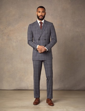 How to wear: charcoal plaid suit, white dress shirt, brown leather derby shoes, burgundy tie