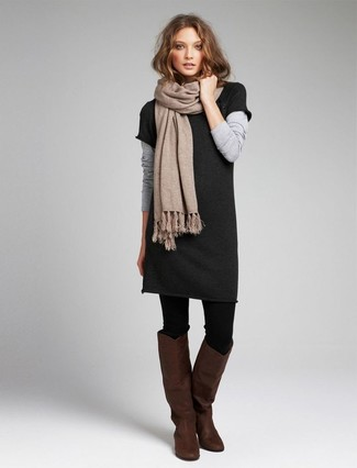How to wear: charcoal sweater dress, dark brown leather knee high boots, beige scarf, black wool tights