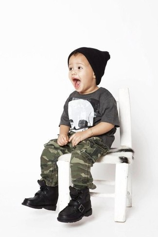 Boys' Looks & Outfits: What To Wear In 2020: Suggest that your little guy choose a charcoal t-shirt and olive camouflage trousers to create a smart casual look. Black boots are a savvy choice to complement this look.