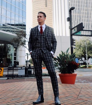 How to wear: charcoal gingham three piece suit, white dress shirt, black leather chelsea boots, burgundy tie
