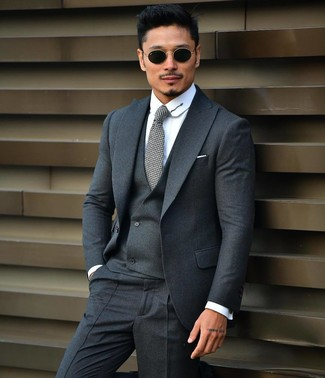 How to wear: charcoal three piece suit, white dress shirt, grey tie, black sunglasses