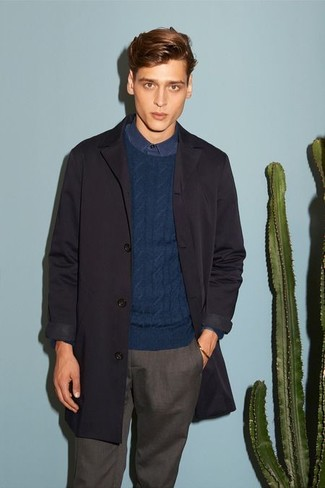 Men's Charcoal Trenchcoat, Navy Cable Sweater, Navy Long Sleeve Shirt, Dark Brown Dress Pants
