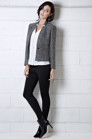 How to wear: charcoal tweed jacket, white button down blouse, black leggings, black leather ankle boots
