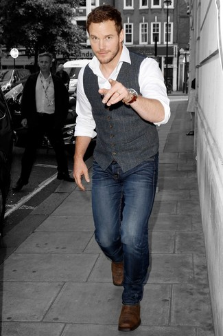 Consider pairing a charcoal wool waistcoat with navy jeans for a sharp classy look. Complete your look with Harry's of London Harrys Of London Harold Chelsea Boots. The much awaited spring calls for seriously stylish looks just like this one.