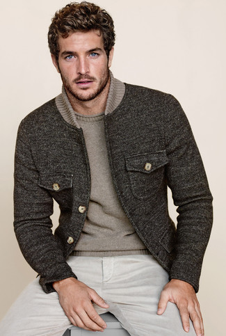 Men's Charcoal Wool Bomber Jacket, Grey Crew-neck Sweater, Beige ...