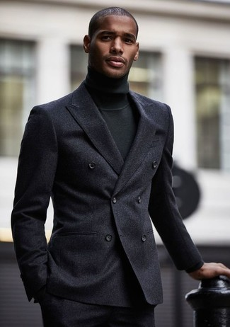 How to wear: charcoal wool double breasted blazer, black turtleneck, charcoal wool dress pants