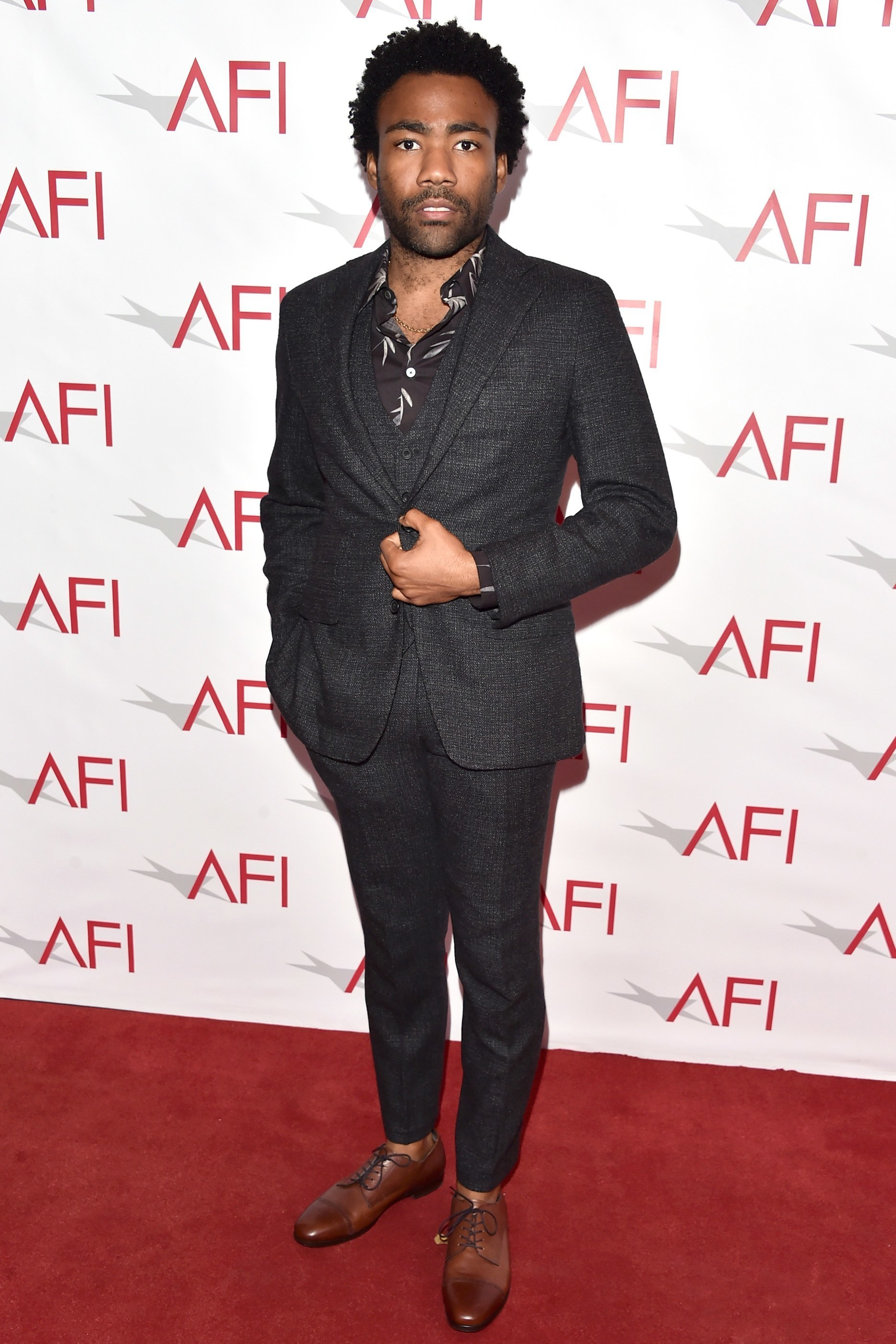 Donald Glover wearing Charcoal Wool Three Piece Suit, Black Print ...