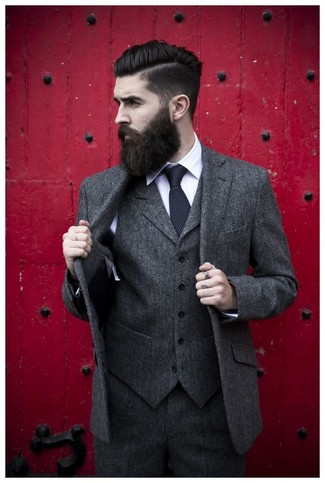 How to wear: charcoal wool three piece suit, white dress shirt, black polka dot tie