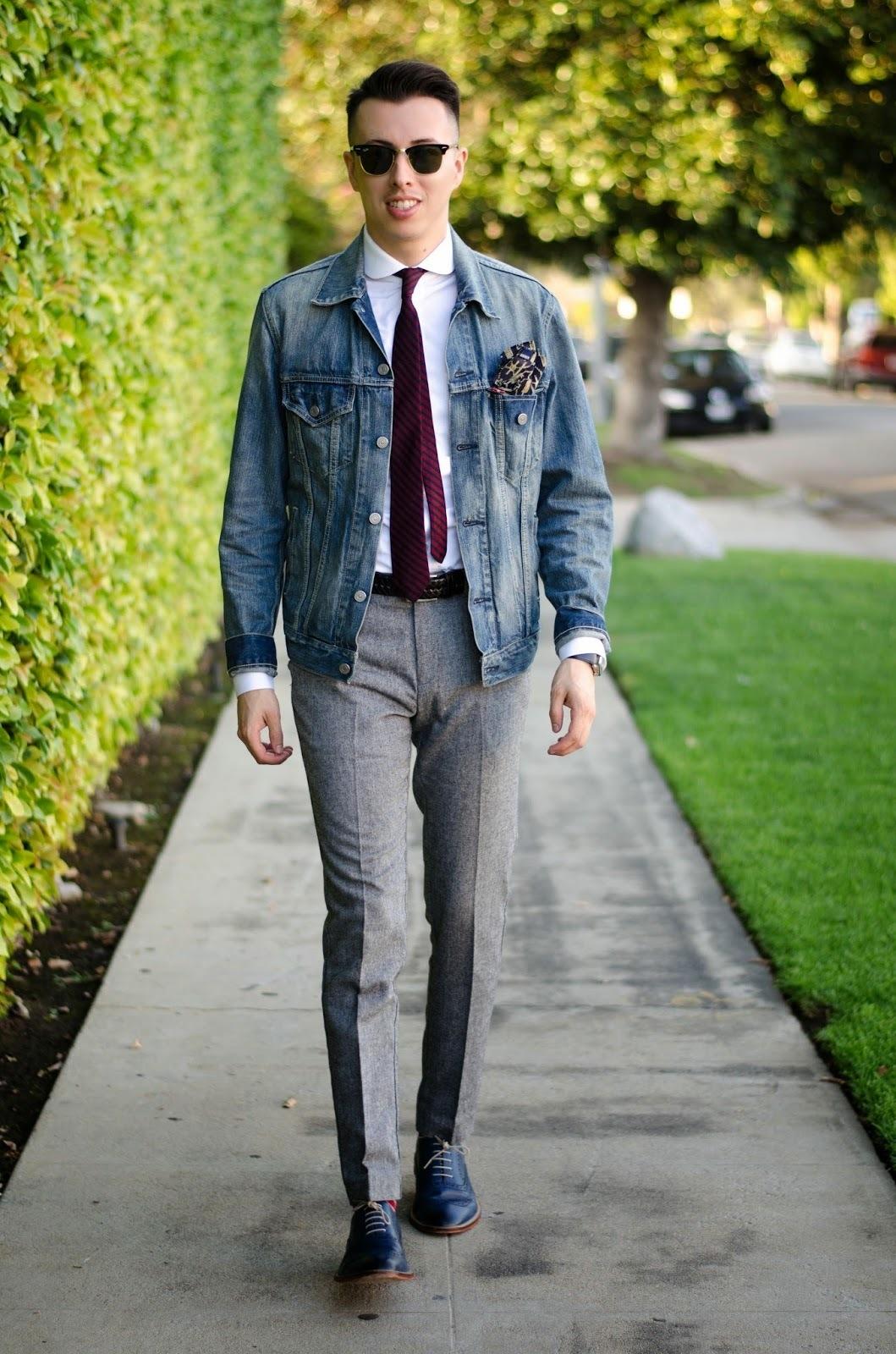 Men's White Dress Shirt, Grey Dress Pants, Navy Leather Oxford Shoes, Dark  Purple Vertical Striped Tie | Men's Fashion