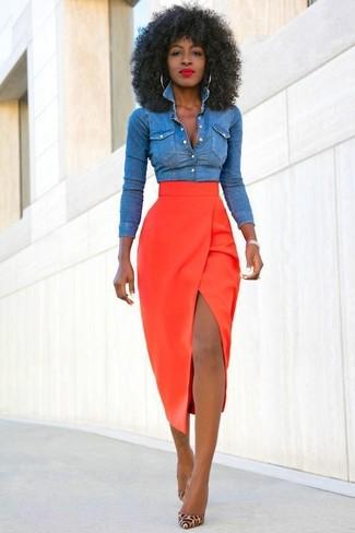 bb3dba1fbf0e Jupe mi longue rouge jupe en jean longue femme