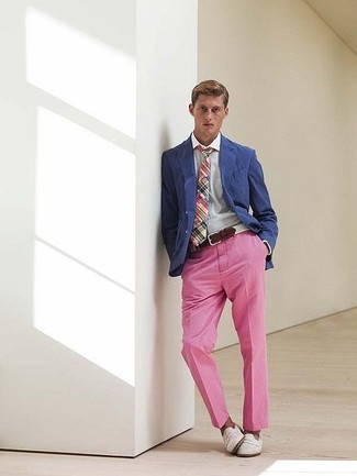 Men's Pink Chinos, White Leather Loafers, Blue Dress Shirt, Multi ...