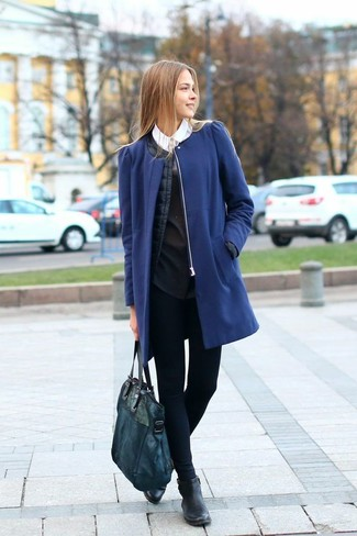 outfits navy blue leggings