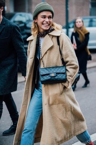Consider teaming a tan coat with baby blue jeans and you'll look like a total babe.