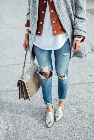 How to wear: grey coat, tobacco suede biker jacket, white henley shirt, blue ripped jeans
