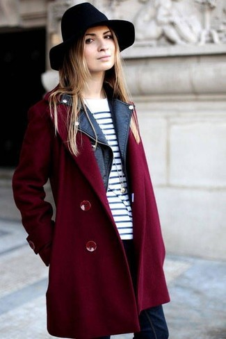 Try pairing a burgundy coat with navy skinny jeans for a Sunday lunch with friends.
