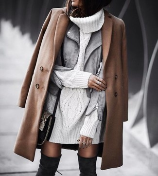 How to wear: brown coat, grey suede biker jacket, white knit sweater dress, black suede over the knee boots