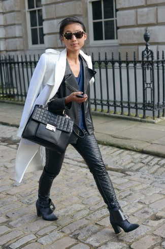 How to wear: white coat, black leather biker jacket, navy v-neck t-shirt, black leather skinny jeans