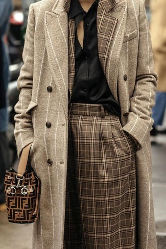 Black Silk Button Down Blouse Outfits: Such essentials as a black silk button down blouse and brown plaid culottes are an easy way to inject effortless cool into your daily arsenal.