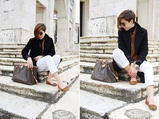 Master the effortlessly chic look in a black coat and white capri pants. A pair of brown leopard suede ballerina shoes will be a stylish addition to your getup. A great example of transitional fashion, this getup is an essential this spring.