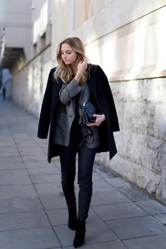 How to wear: black coat, charcoal gingham blazer, black crew-neck t-shirt, black skinny jeans