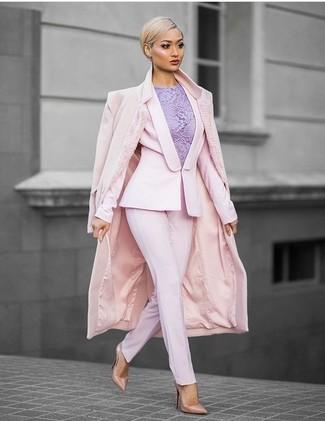 Women's Pink Coat, Pink Blazer, Light Violet Lace Sleeveless Top, Pink Dress Pants