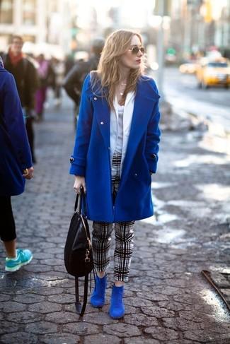 How to wear: blue coat, white blazer, white tank, white and black plaid skinny pants
