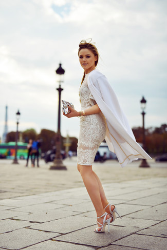 How to wear: white coat, white lace bodycon dress, white leather heeled sandals, silver leather clutch