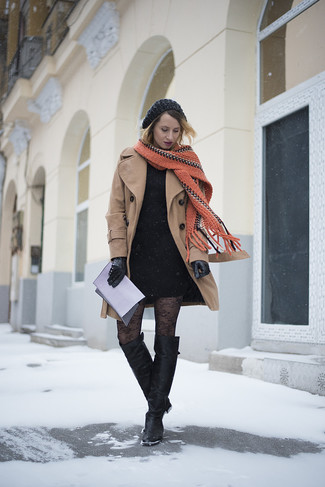 Effortlessly blurring the line between chic and casual, this combination of a khaki coat and a black bodycon dress is likely to become one of your favorites. Complement this look with black leather thigh high boots.
