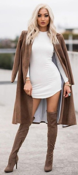 How to wear: brown coat, white bodycon dress, brown suede over the knee boots, gold bracelet
