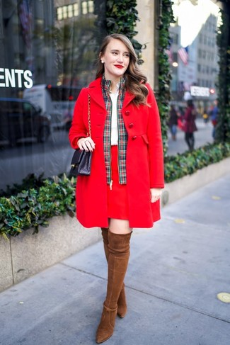 How to wear: red coat, green and red plaid bomber jacket, white dress shirt, red mini skirt