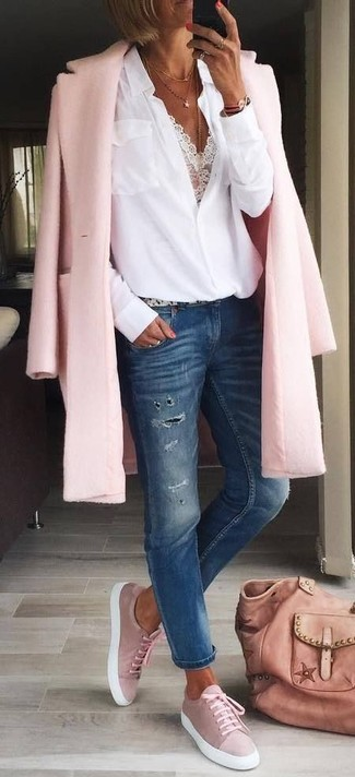 How to wear: pink coat, white button down blouse, white lace cropped top, navy ripped jeans