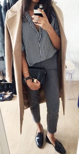 How to Wear Black Leather Loafers For Women: Demonstrate your sartorial skills by pairing a camel coat and charcoal dress pants. A pair of black leather loafers can integrate seamlessly within plenty of looks.
