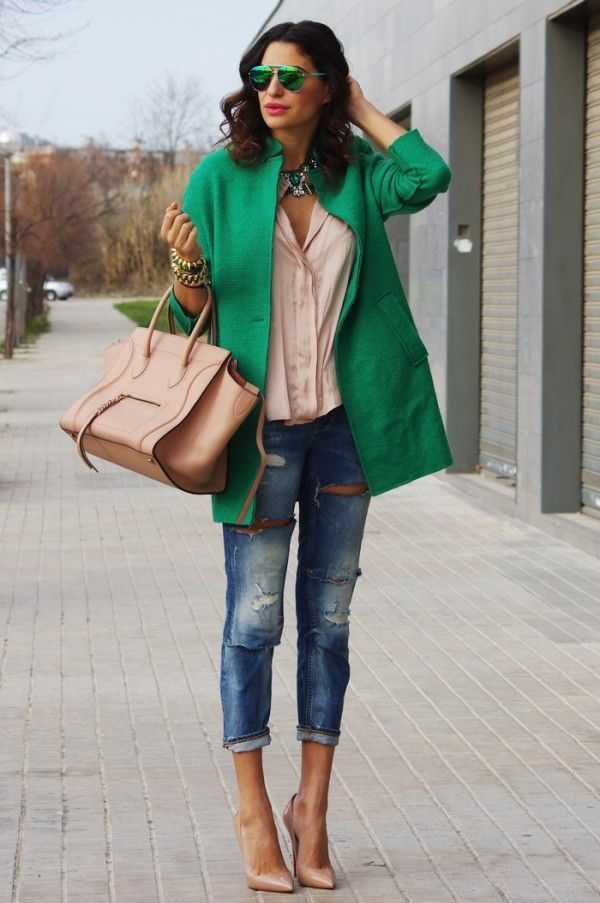 Women's Green Coat, Beige Button Down Blouse, Blue Ripped Skinny ...