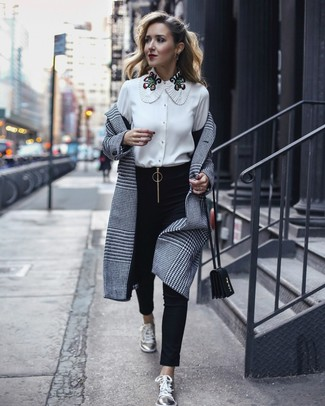 How to wear: grey plaid coat, white embroidered button down blouse, black skinny pants, silver leather low top sneakers