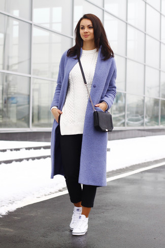 Consider pairing a lilac coat with black capri pants for a casual level of dress. White high top sneakers will give your look an on-trend feel.