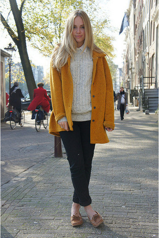 How to wear: mustard coat, beige cable sweater, white dress shirt, black chinos