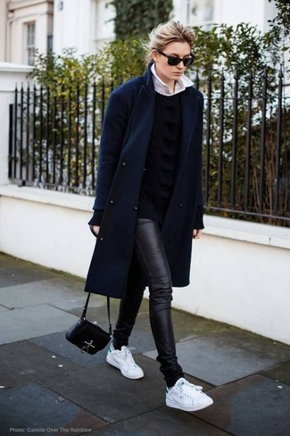 How to wear: navy coat, black cable sweater, white dress shirt, black leather skinny jeans