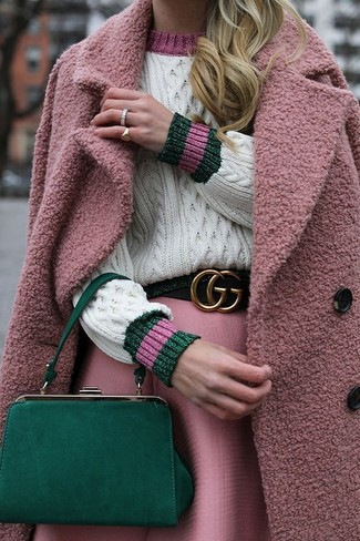 How to wear: pink coat, white cable sweater, pink full skirt, green leather clutch