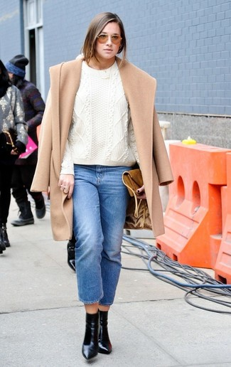 How to wear: camel coat, white cable sweater, blue jeans, black leather ankle boots