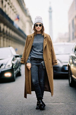 How to wear: tobacco coat, charcoal cable sweater, navy jeans, black leather lace-up flat boots
