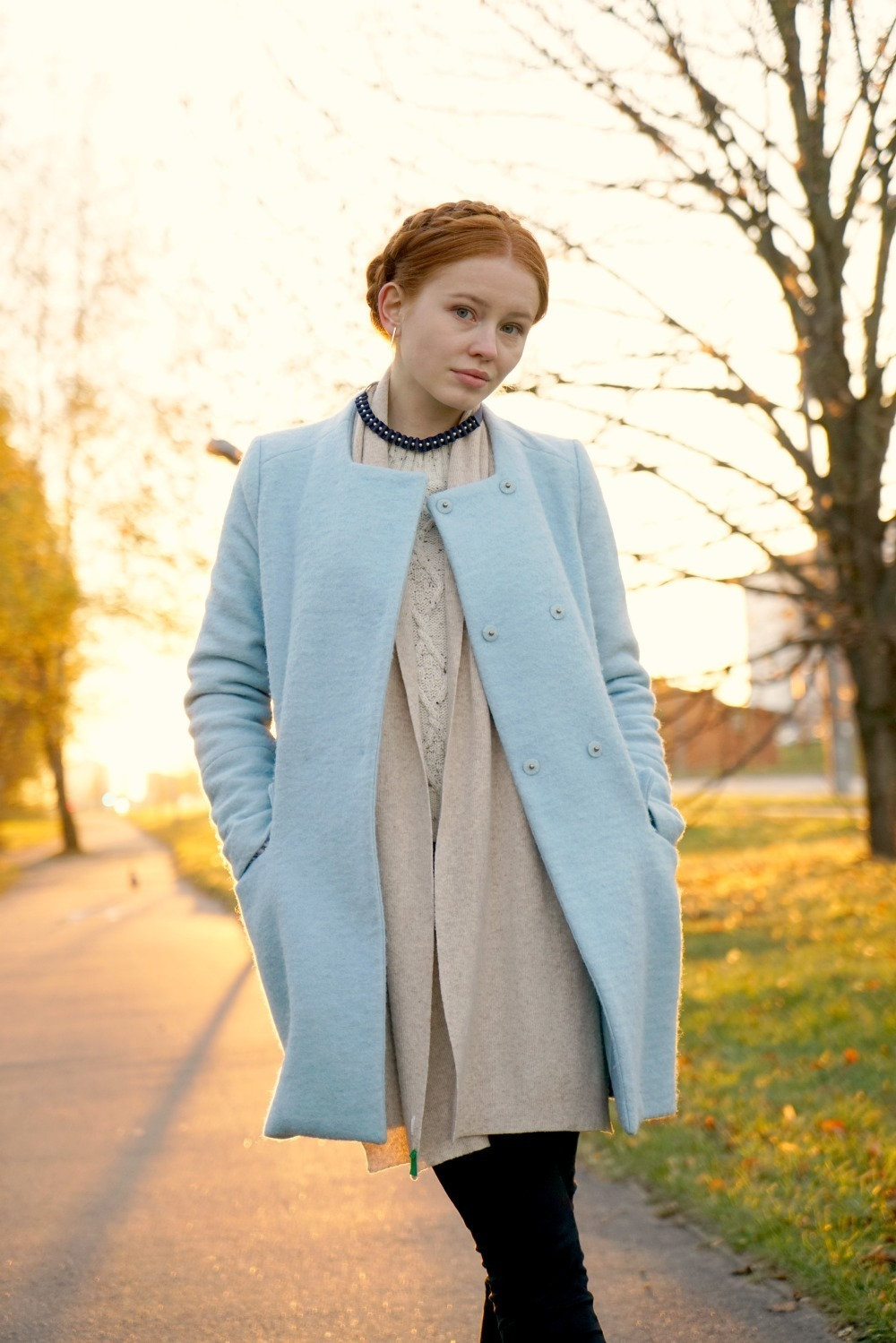 Women's Light Blue Coat, Beige Cable Sweater, Black Jeans, Beige ...