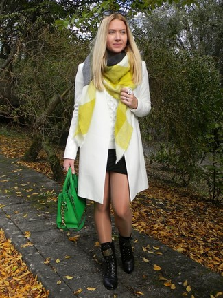 How to wear: white coat, white cable sweater, black mini skirt, black leather lace-up flat boots