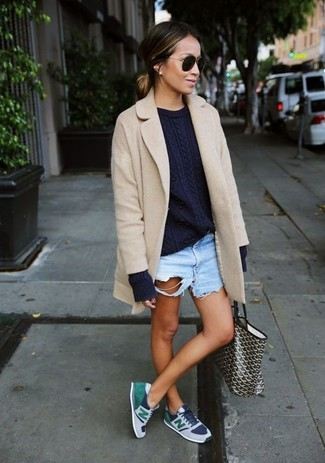 Consider teaming a beige coat with baby blue ripped denim shorts for an effortless kind of elegance. Light blue low top sneakers are the right shoes here to get you noticed. Undoubtedly, you're looking at a savvy idea for a warm weather day.