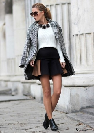 To create an outfit for lunch with friends at the weekend wear a grey coat and a black skater skirt. Add black leather ankle boots to your look for an instant style upgrade.