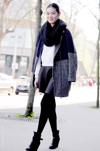 To create an outfit for lunch with friends at the weekend pair a charcoal coat with a black skater skirt. Complete your outfit with wedge ankle boots. As the weather starts to improve, it's time to shed those heavy winter gear and choose an ensemble that's lighter, like this one here.